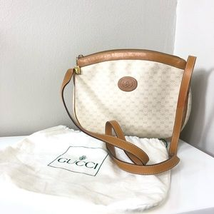 Vintage Gucci Tan & Cream Crossbody Bag Purse